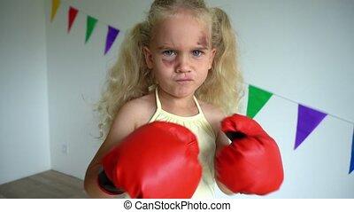 agresywny, poncz, twarz, gloves., kuć, dziewczyna, bokser, ...