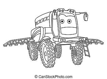 agricole, coloration, pulvérisateur, tracteur, page