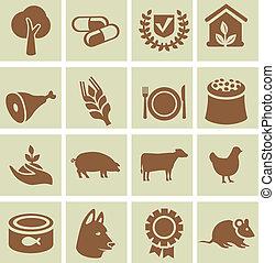 agricole, ensemble, icônes