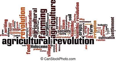 agricolo, rivoluzione, parola, nuvola