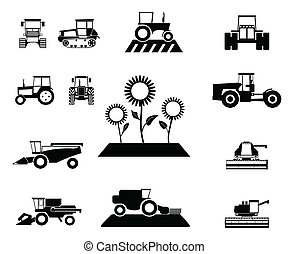 agricolo, vettore, set, veicoli