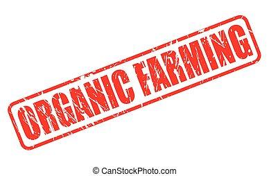 agricoltura biologica, rosso, francobollo, testo