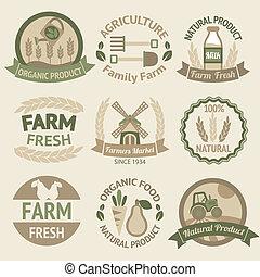agricoltura, raccolta, e, agricoltura, etichette