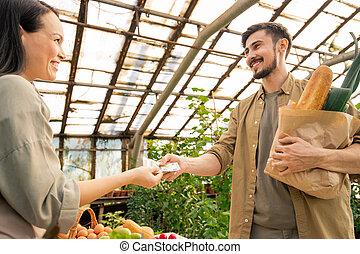 agriculteurs, apprécier, marché, achat