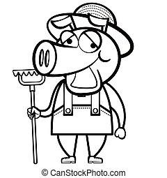 agricultor, ancinho, coloração, caricatura, porca
