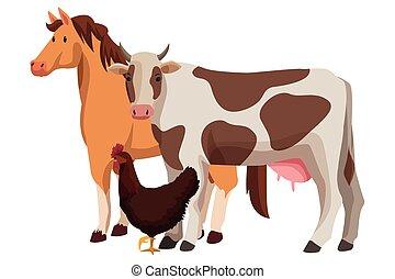 agricultor, animais, caricatura, fazenda