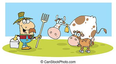 agricultor, boiada, caucasiano, seu