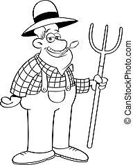 agricultor, caricatura, pitchfork., segurando