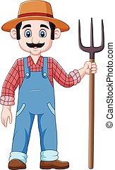 agricultor, caricatura, segurando, pitchfork