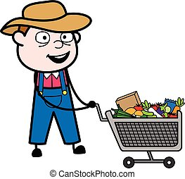 agricultor, carro shopping, caricatura