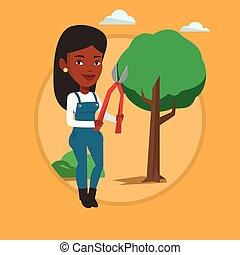 agricultor, com, podador, em, jardim, vetorial, illustration.