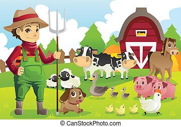 agricultor, em, a, fazenda, com, animais