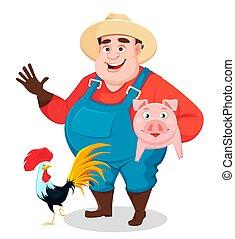 agricultor, engraçado, agronomist., gorda, jardineiro