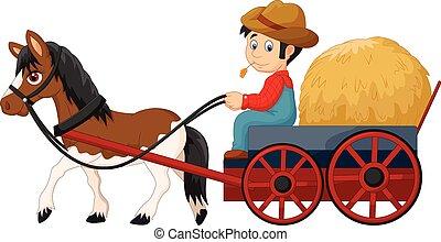 agricultor, feno, caricatura, carreta