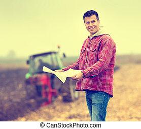 agricultor, ligado, campo