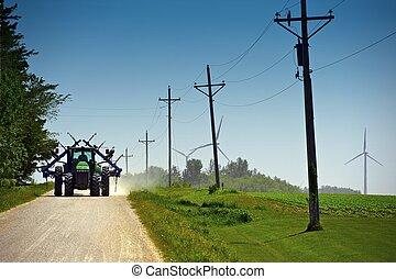 agricultor, ligado, subúrbio, estrada