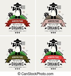 agricultor, logotipo, agricultura, design.