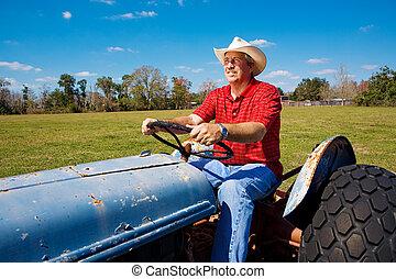 agricultor, mows, a, campo