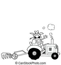 agricultor, trator, dirigindo, esboçado