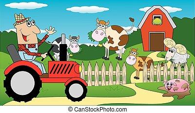 agricultor, trator