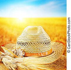 agricultor, trigo, chapéu, campo