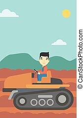 agricultor, vetorial, illustration., trator, dirigindo