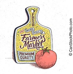 agricultores, cartaz, mão, vindima, lettering., mercado