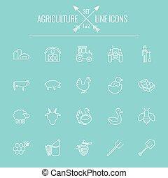 agricultura, ícone, set.