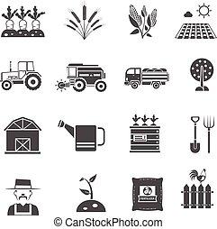 agricultura, ícones, jogo