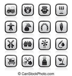 agricultura, agricultura, ícones