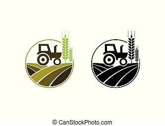 agricultura, agricultura, logotipo, trator, desenho