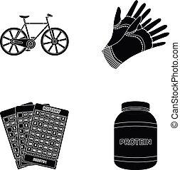 agricultura, casino, y, otro, tela, icono, en, negro, style.sports, medicina, iconos, en, conjunto, collection.