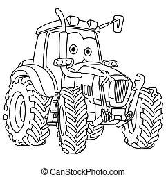 agricultura, coloração, página, trator, veículo