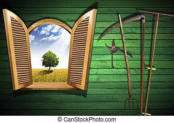 agricultura, conceito, com, janela aberta