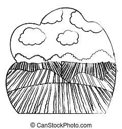 agricultura, desenho, paisagem