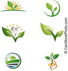 agricultura, fazenda, planta, crescer, logotipo, jogo