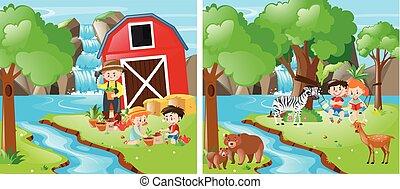 agricultura, fluxo, crianças