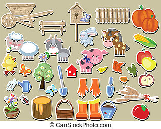 agricultura, grande, conjunto, de, el, vector