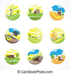 agricultura, iconos, conjunto