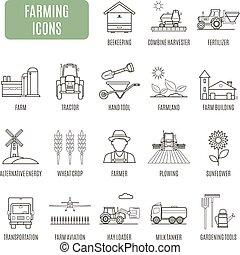 agricultura, icons., jogo, de, vetorial, pictograma