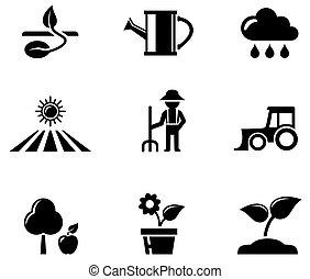 agricultura, jogo, pretas, ícones