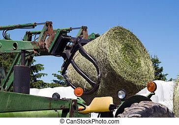 agricultura, maquinaria, colher, feno, rolo