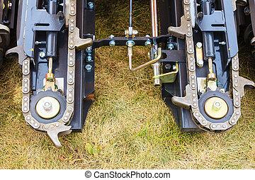 agricultura, maquinaria, corrente, em, grande, agrícola, máquina