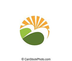 agricultura, paisagem, logotipo, modelo