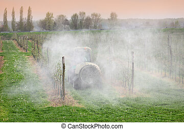 agricultura, pulverização, de, árvores