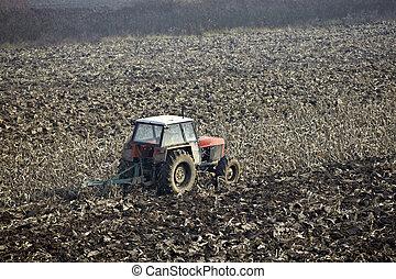 agricultura, tractor, cultivado, lanf, campo, vegetal