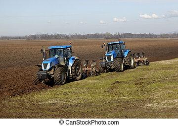 agricultura, tractor, tierra cultivada, campo, vegetal
