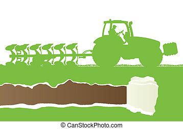 agricultura, trator, arar, a, terra, em, cultivado, país,...
