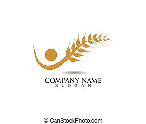 agricultura, trigo, logotipo, plantilla, vida, logotipo, vector, icono