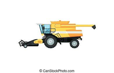 agricultura, vetorial, combinar, ilustração, harvester